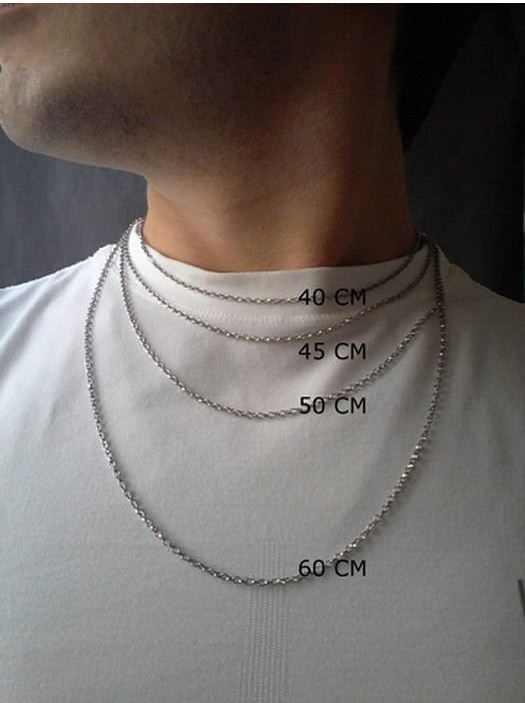 Medidas mais comuns de colares masculinos