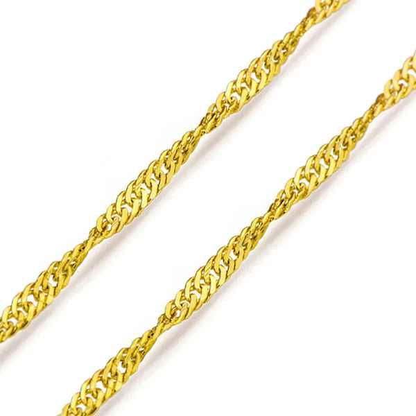 Elos interligados ornando com elos tortos são as características de corrente feitas com malhas do tipo singapura