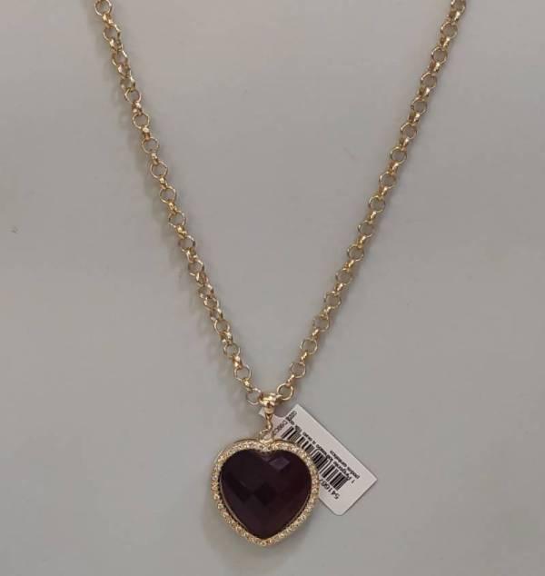 Conjunto Rommanel cordão elo português 50 cm (530841) e pingente coração 3,3 cm (541667)