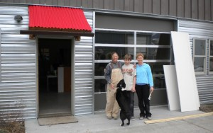 Krisata, Colter and Tanya outside our new office on Wallace in Bozeman.