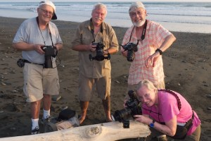 Allan, Neil, Ed and Carlotta having fun with macro on the beach in Costa Rica.