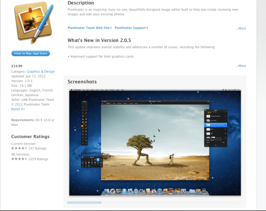 Pixelmator is nearly 35X less expensive than Photoshop. See the Reviews on Apples App store.