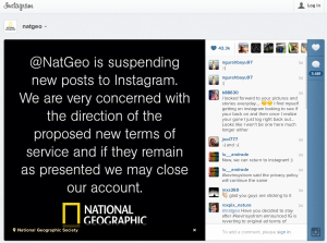 National Geographic shuts down their Instagram account until they see the new Terms and Conditions from Instagram