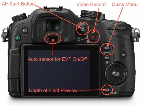 Back side of the GH3 with it's specific controls such as AF Start, Depth of Field Preview, Video Record and others.