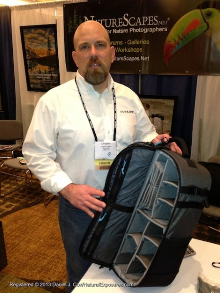 Gregory Schern of Gura Gear shows one of the Gura Gear camera packs. NANPA Conference 2013