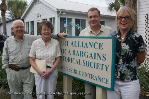 Jack, Marlene and Daniel Cox with Pike Powers at the Boca Grande ARt Alliance. Florida.