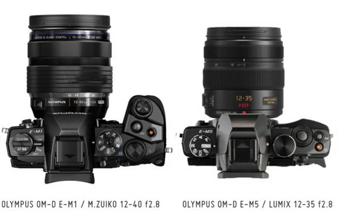 Comparison photo of recent Olympus cameras with retro styling the OM-D EM-5 and the newest Olympus EM-1. Photo courtesy Micro Four Thirds Blog.