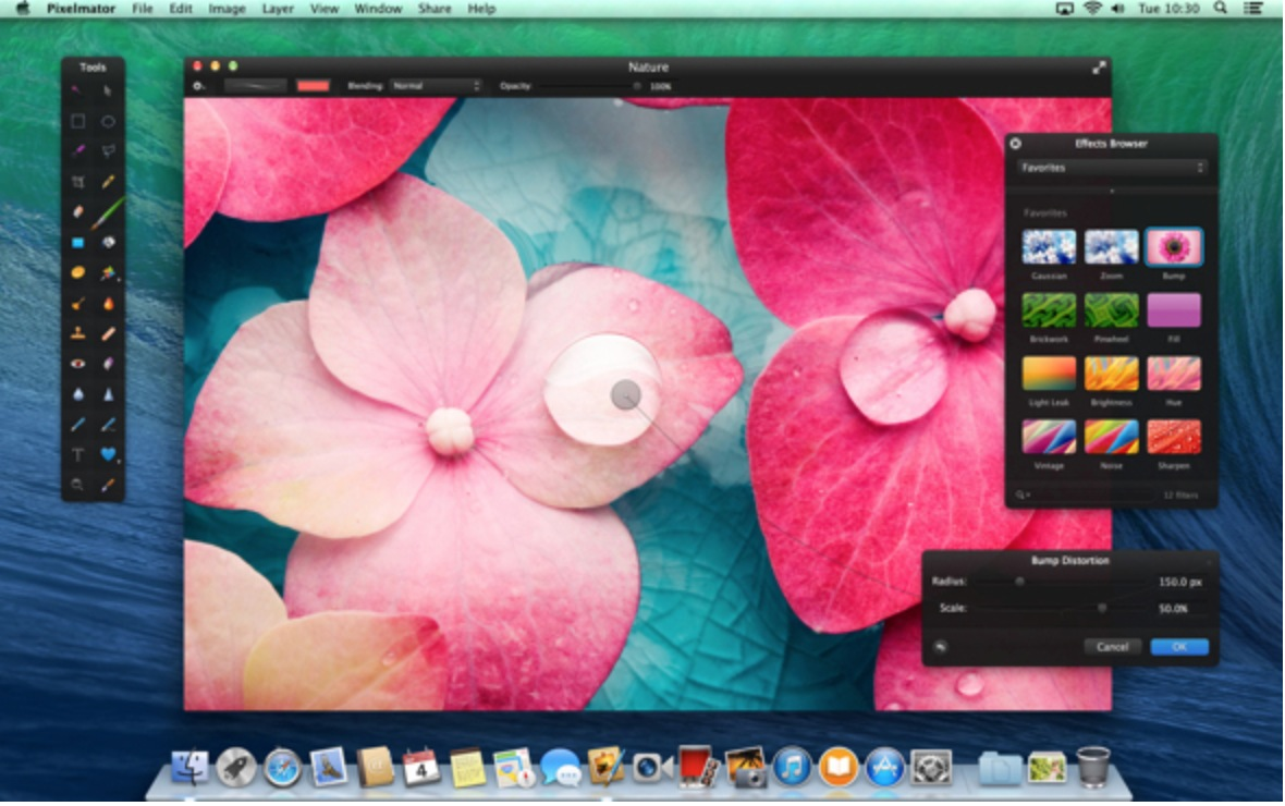 Pixelmator is my favorite go to image editing program for building design elements like Facebook headers and other things that can't be done with Apple's Aperture.