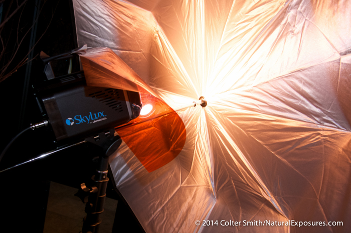 The SkyLux fired with an umbrella has a warming filter attached to the front of the light to better match the ambient  lighting in the room we were working under. Locati Architects, Bozeman, Montana