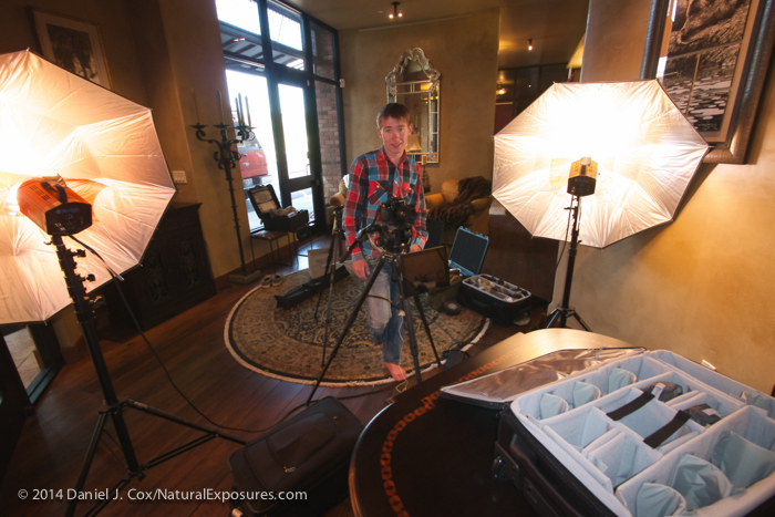 Colter behind the camera gets set to shoot the video announcing the winner of the Bose gift certificate. Yes, he's i his bare feet, on location at Locati Architects in Bozeman, Montana
