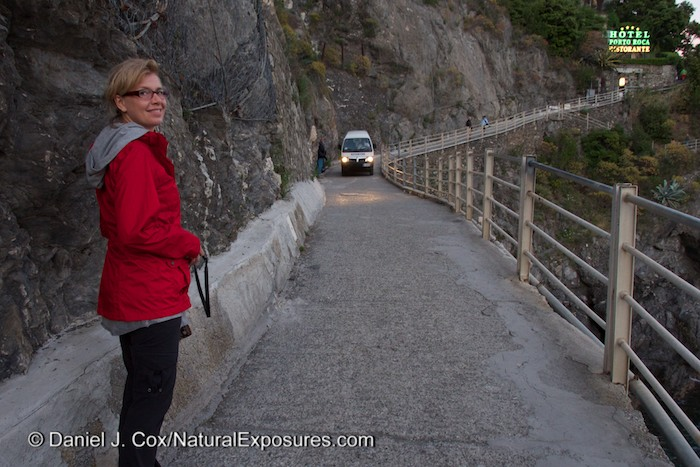 "Yep, that's the road to our hotel in Monterosso. That's the four wheeled over sized wheel barrow with an engine. Tanya was wiring for it get closer before she had to pull herself up on the left edge so the van could pass. A road something similar to one of my favorite toads in the world ""Going to the Sun road"" in Glacier national Park."