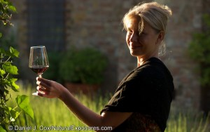 Tanya in the golden light of evening enjoys a glass of red from a local Tuscan vineyard. Lumix GH4 with 42.5mm Noctircron lens.
