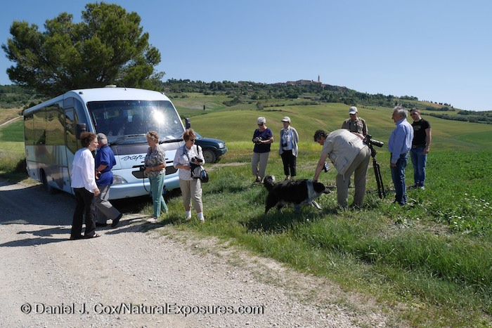 Our small but comfortable bus easily navigates the windy, twisting back roads of the Tuscany countryside. Lumix GM1 with 12-32mm lens