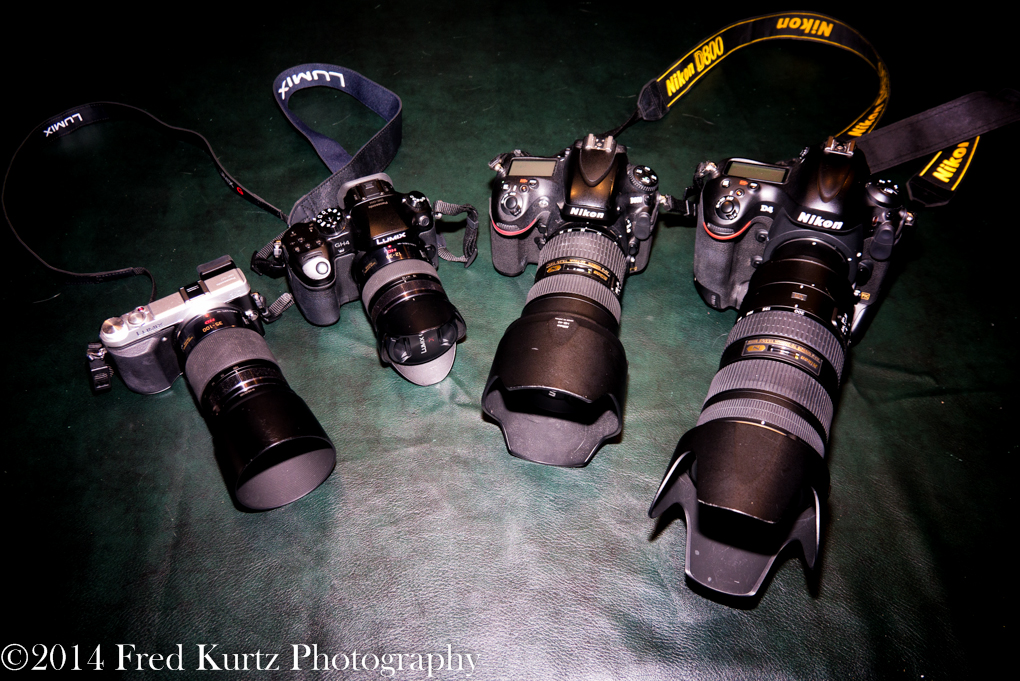 Fred's arsenal of photographic tools which include the Lumix GX7, GH4, Nikon D800 and Nikon D4