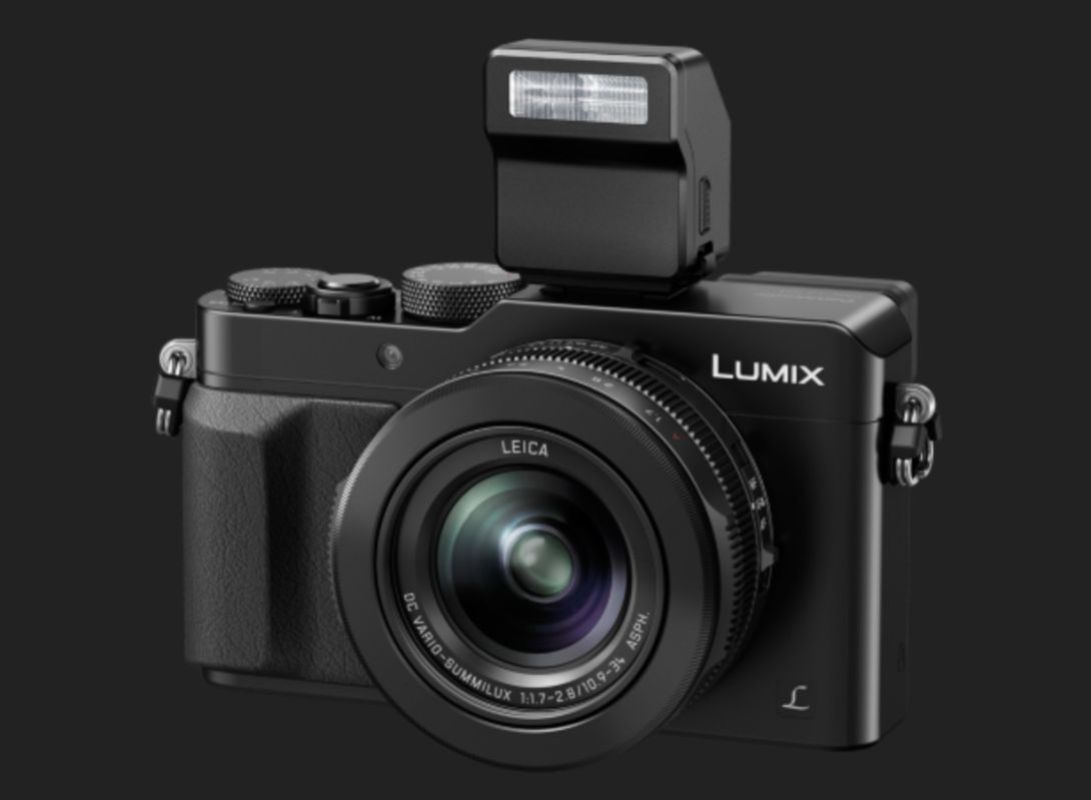 Panasoinc's new Lumix LX100 with 24-75mm F/1.7-2.8 zoom. It has a Micro Four Thirds sensor and built in EVF.