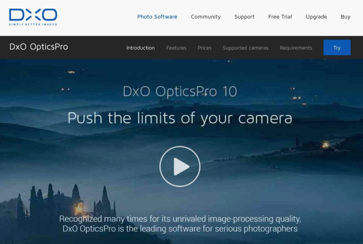 Click on the above image to be taken to the DxO Mark Optics Pro web page for a Free Trial version.