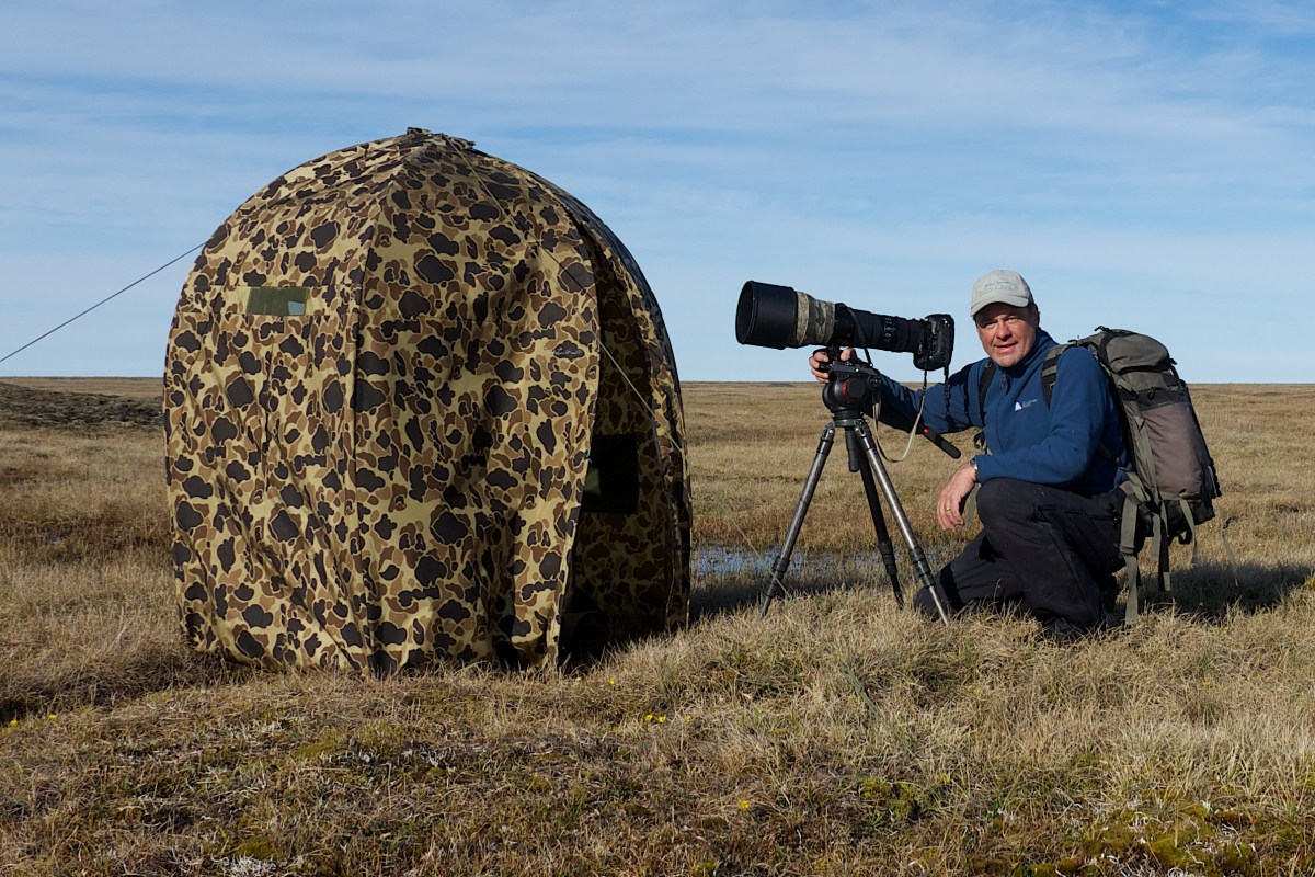 Dan at the hide he used to photograph snowy owls produced for the March issue of German Geo.