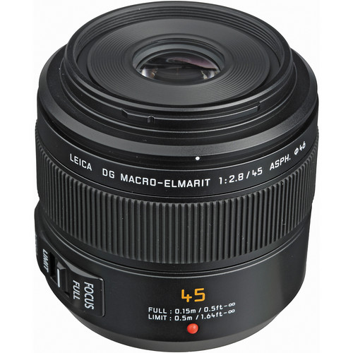 Panasonic Leica DG Macro-Elmarit 45mm f/2.8 ASPH. MEGA O.I.S. 7.94 oz (225 g) and a price of $900.00US