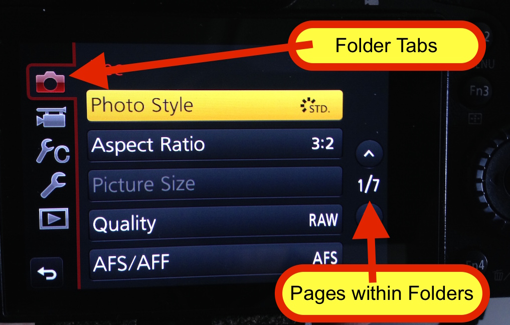 Panasonic's menu setup is easy to follow and straightforward with the left side tabs being folders that related to different parts of the camera. This first tab is for the Record mode for still photos which my large arrow covered up.