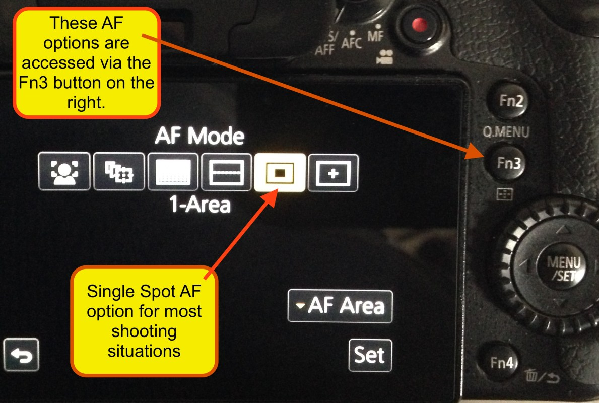 The Fn3 button to the right of the LCD is for changing the numerous different AF zone options. I generally use my GH4's on the single AF spot which can be enlarged or reduced in size at will. The others I sometimes use, especially the face AF option when I'm shooting events with people in them.