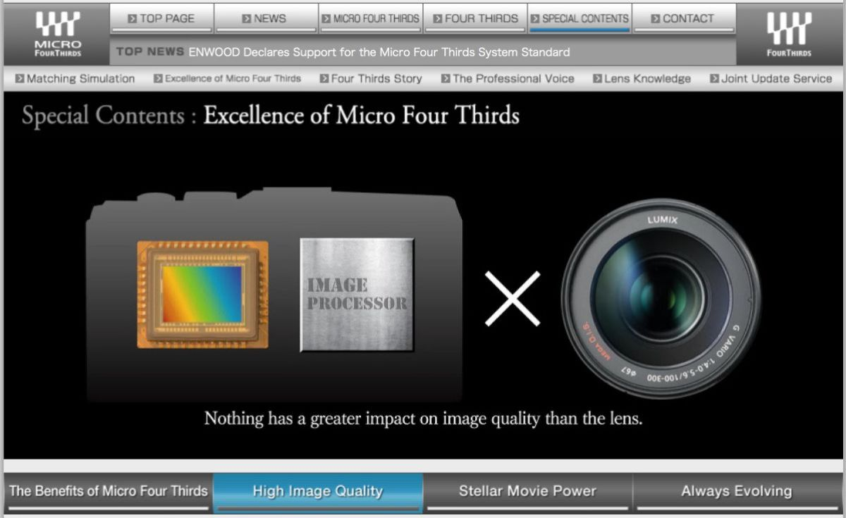 The excellence of Micro Four Thirds graphic from the MFT web site.