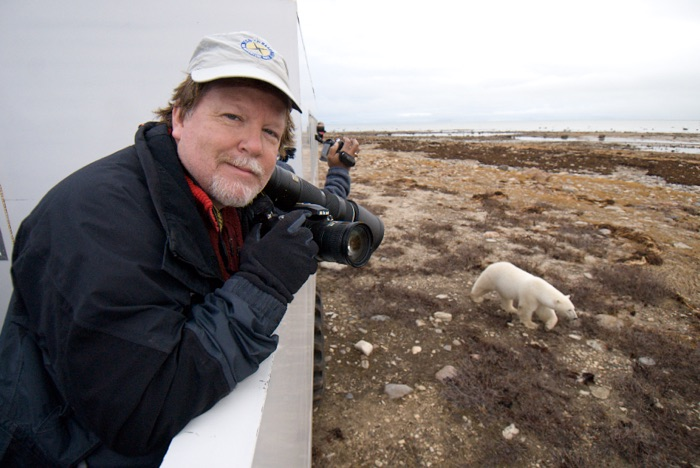 Kevin Gilbert, photojournalist and lead Mylio Memory Evangelist photographing polar bears in Churchill, Manitoba.