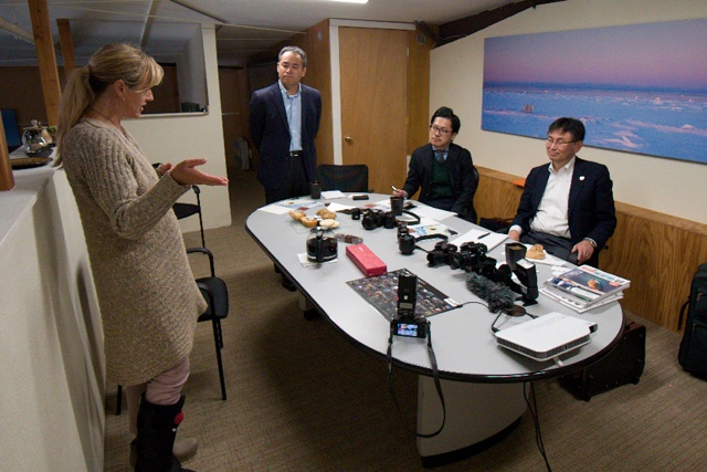 Krista discussing PBI projects with the Panasonic Lumix executives that came to meet with Dan in Bozeman. Montana