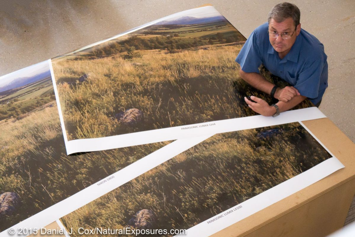 All three prints, Lumix GH4, Nikon D800 and Lumix LX100 on a large table, but not large enough, in our studio.