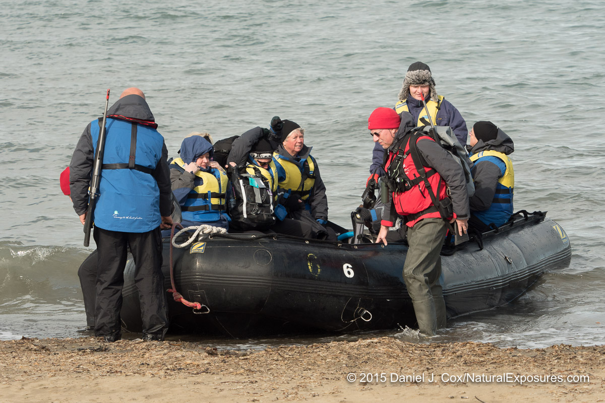 A Zodiac full of our Explorers arriving at Kapp Lee on Edgeoya Island, Svalbard, Norway.