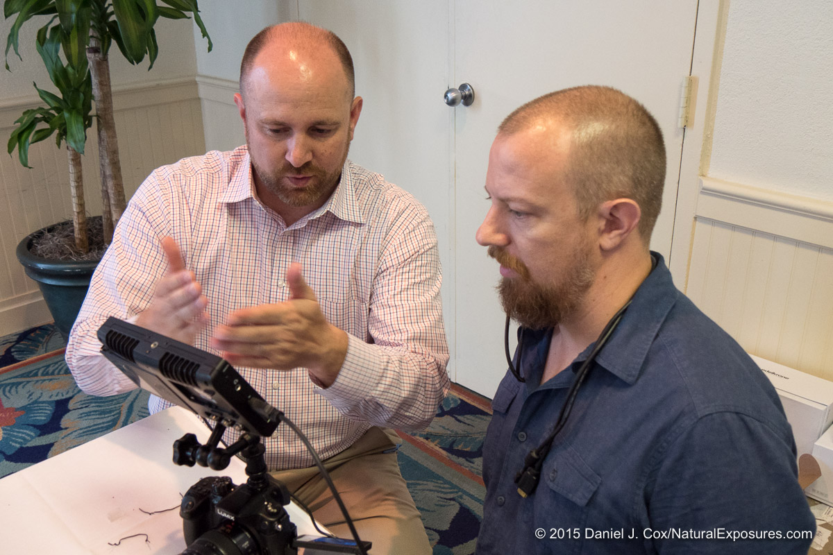 Passion's Matt Frazier shows Lumix Luminary Joseph Linaschke how to use the new Atamos LCD
