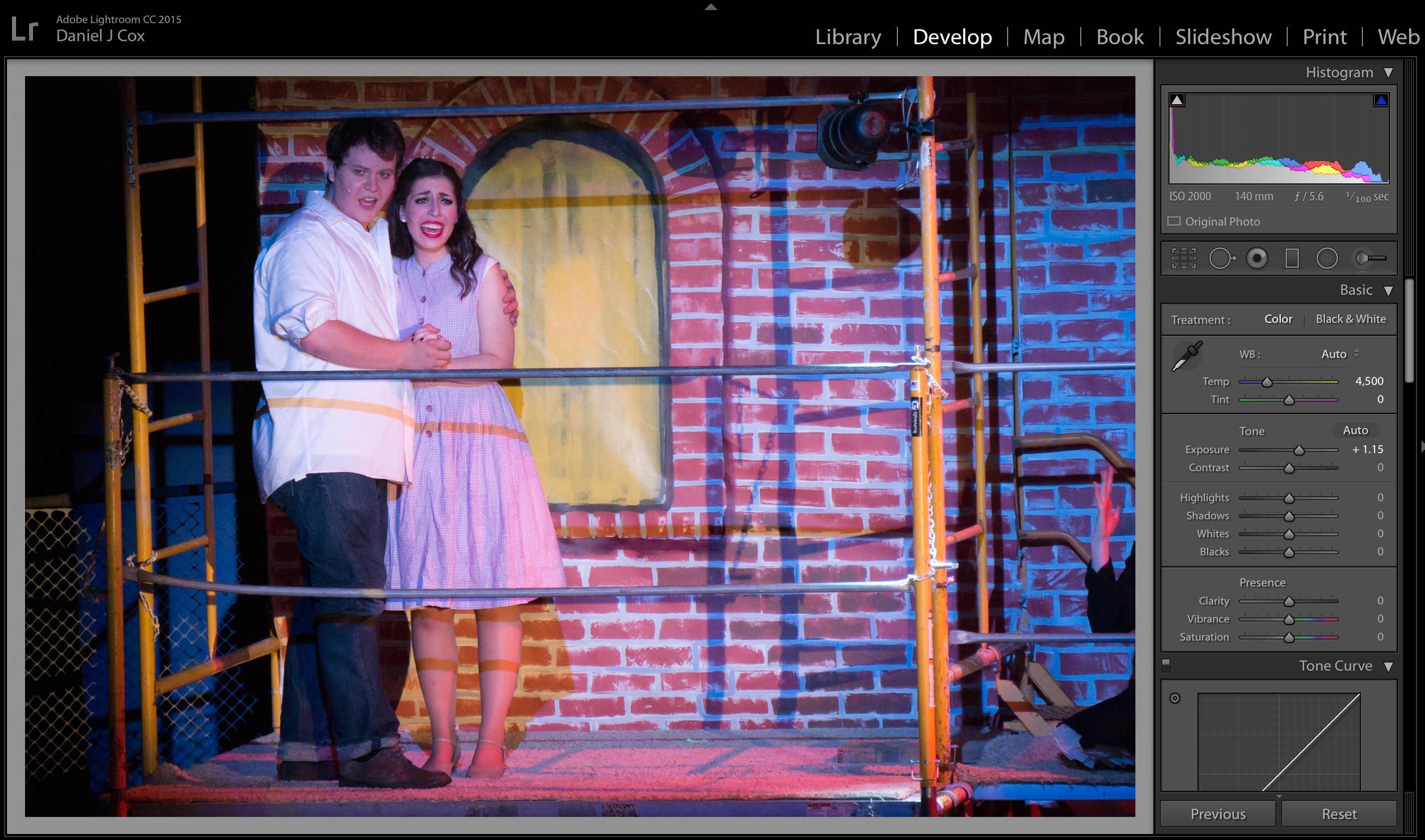 Olivia as Maria and Jake as Tony singing their hearts out. If there was sound in they image you would never be able concentrate on the perfect histogram in the upper right corner in Lightroom.