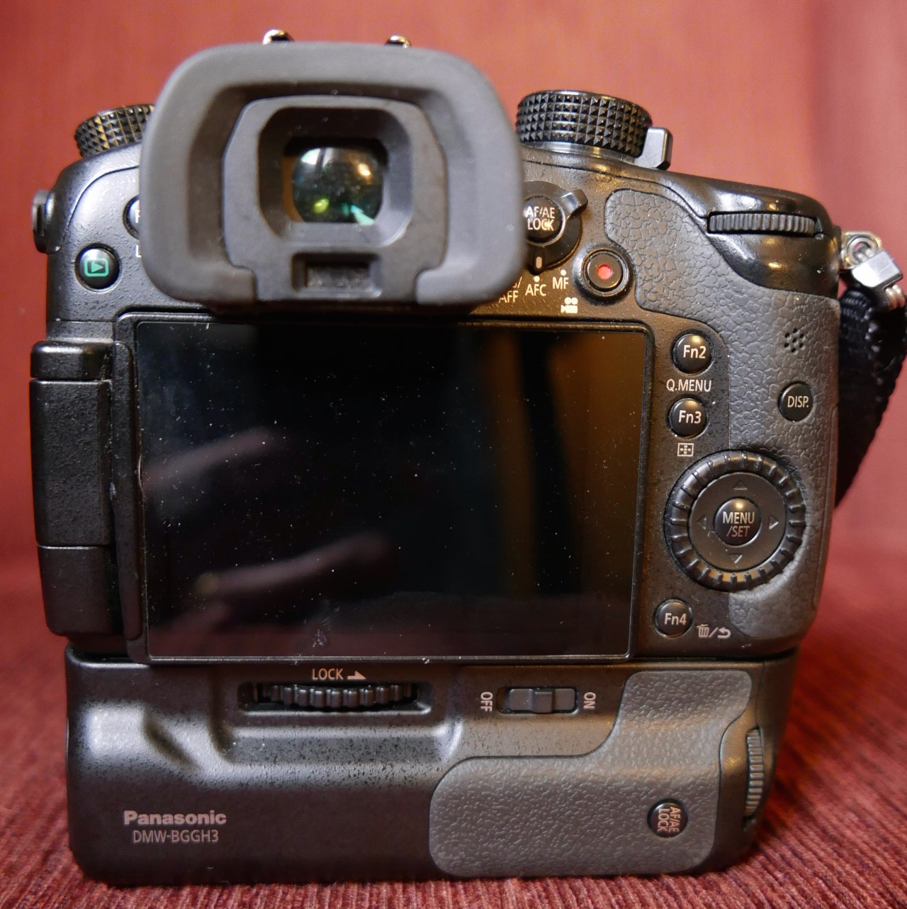 Rear view of the GH4 with BGGH3 battery grip