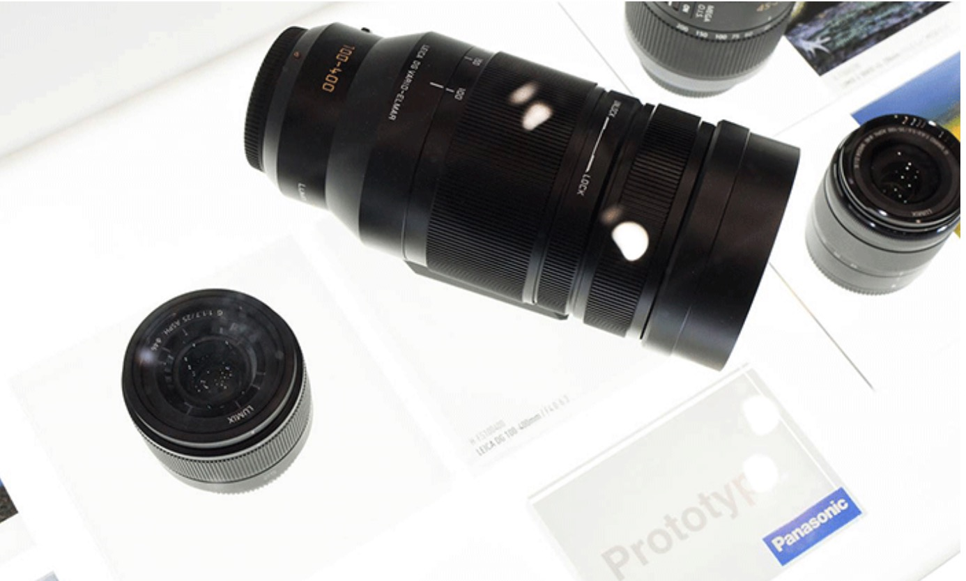 Photo from the Facebook page of Robert Pothorcki showing the new 100-400mm zoom from Leica/Lumix at the Berlin trade show.
