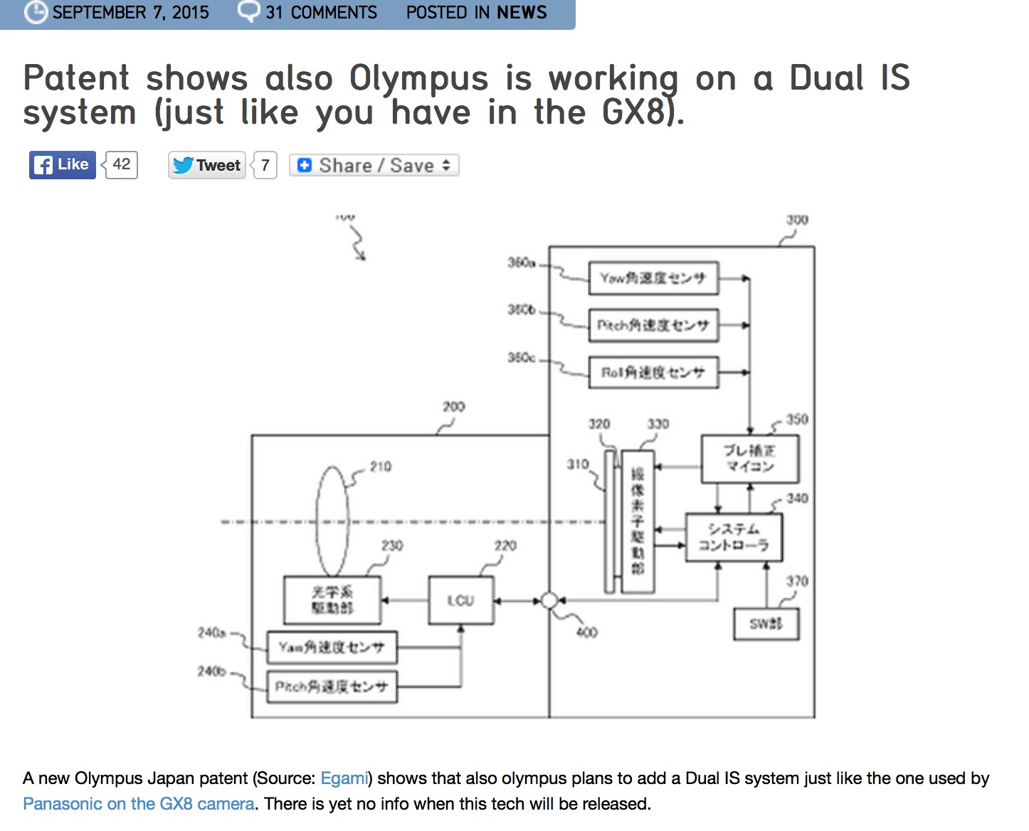 Olympus patent graphic showing a new patent from Olympus to combine in camera IS with in lens IS just like the Dual IS we currently have in our Lumix GX8. Image courtesy of 43Rumors.