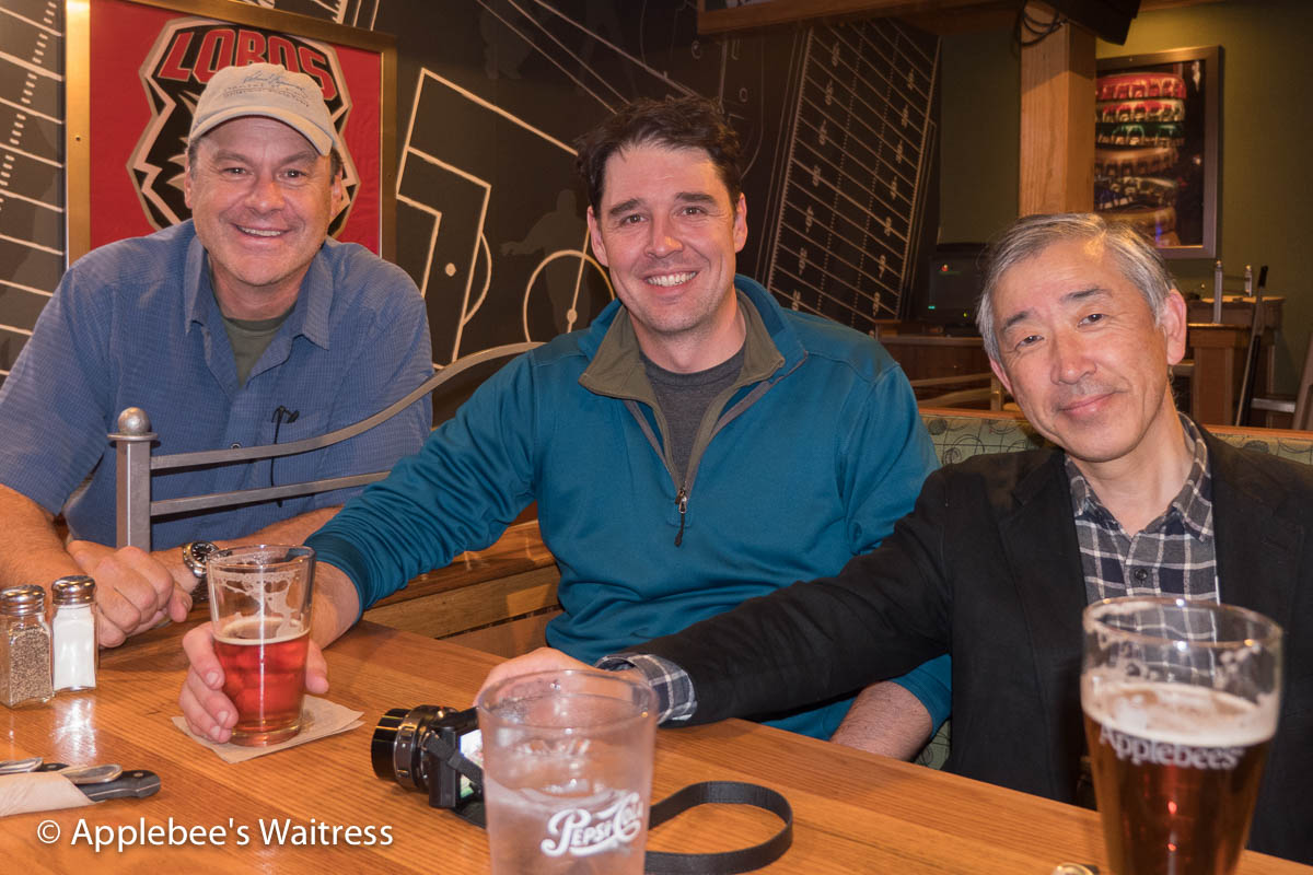 Dan, Henry Harrison and Panasonic Chief Engineer Takanori Yabuki at Apple Bee's in Albuquerque, New Mexico.