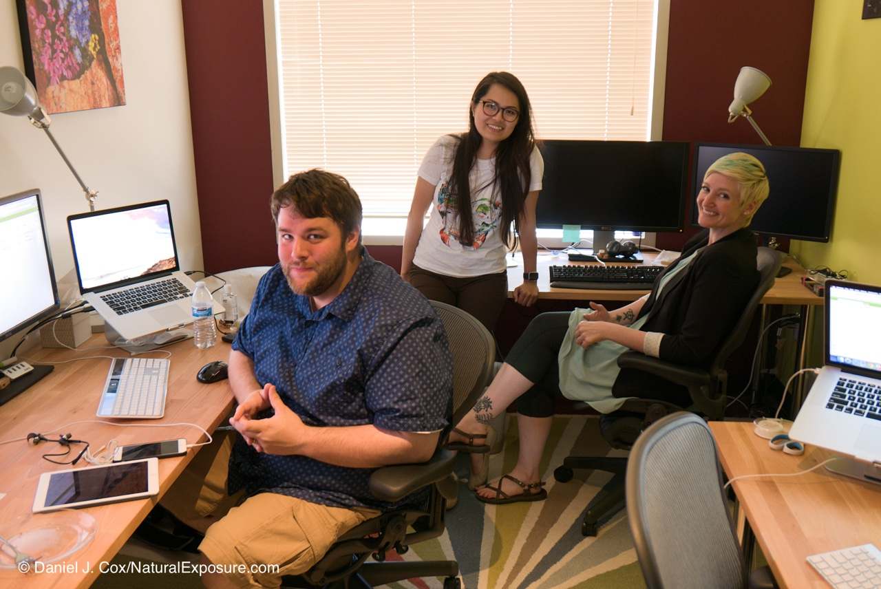Matt, Raiza and Neo in the Mylio Control Center solving the worlds Mylio problems one call at a time. Settle, Washington.
