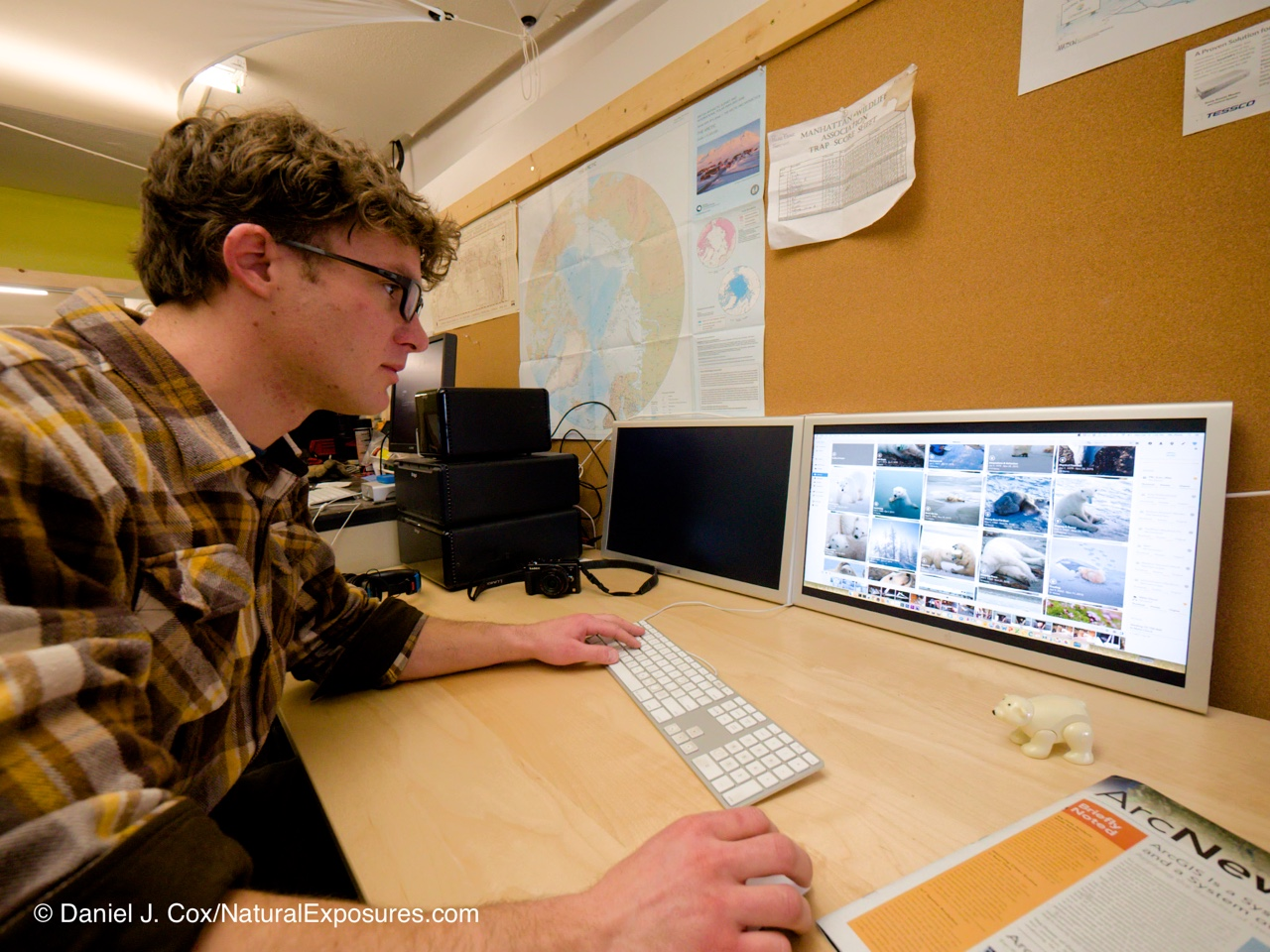 BJ Kirschhoffer working with Mylio, Drobo's holding the images in the background in the PBI photo library. Bozeman. Montana