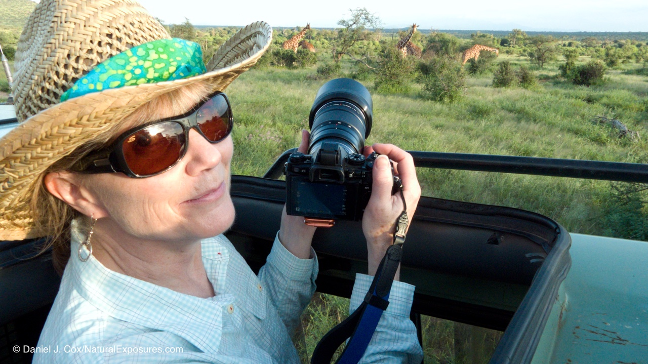 Marsha Philips of F11 Photographic Supply on safari with Natural Exposures Invitational Photo Tours. Kenya.