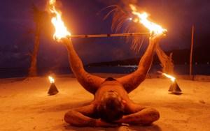 Tahitian fire dancer performing on the island of Bora Bora, Tahiti Lumix GX8 with Olympus 12mm F/2.0 lens ISO 1600