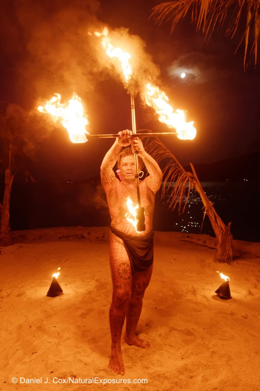 Tahitian fire dancer performing on the island of Bora Bora, Tahiti Lumix GX8 with Olympus 12mm F/2.0 lens ISO 3200