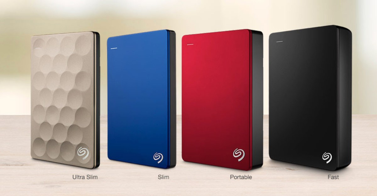 A product image from Seagate's web site showing the 4TB I use on my Mylio drive on the far left. The 1TB smaller drive for storing my originals is the blue drive second one from the left.