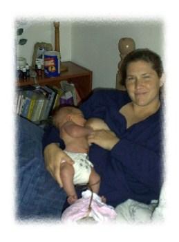 Nursing Benjamin a few days after the birth