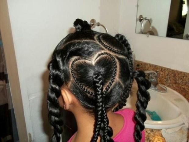 Heart Ponytail Hairstyle Natural Hair Kids