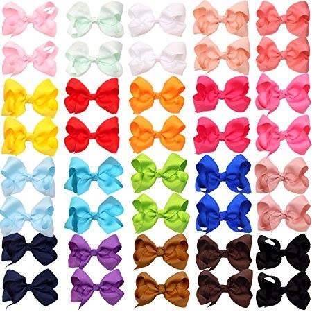 rainbow hairbows for kids