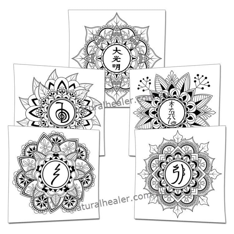 Mindfulness Reiki Symbols Mandalas Poster Pack
