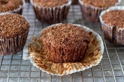 row of bran muffins sitting on tray waiting to be devoured