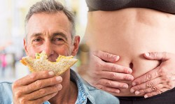 man holding bread with bite mark and woman's stomach in background holding her stomach in pain