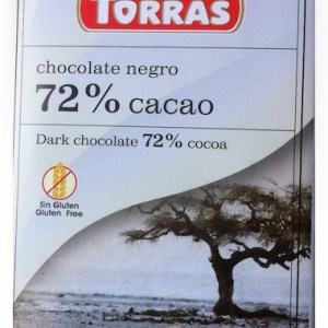 Dark Chocolate 72% Cocoa Without Sugar And Gluten 75g Torras