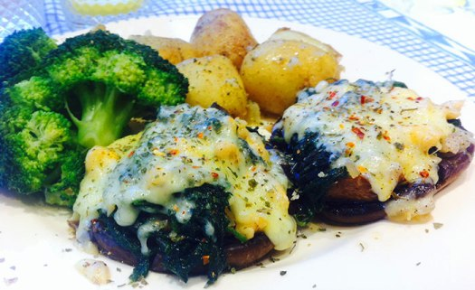 A delicious nettle and cashew stuffed mushroom made from a recipe in Viv Tuffney's Nettle Cookbook