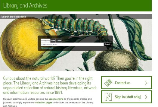 Screen shot of the new Library home page